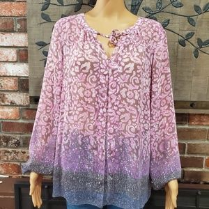 LUCKY BRAND Long Sleeve Blouse w/Tassle Front L